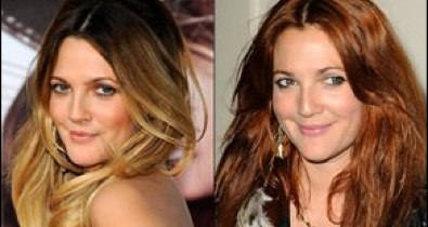 Drew Barrymore with dark to blonde hair and Barrymore with red hair