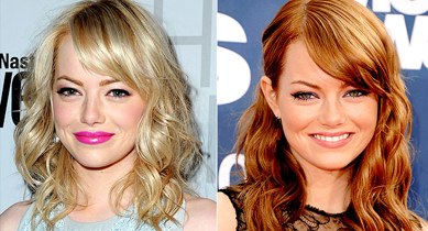Emma Stone with blonde hair and Emma stone with red hair
